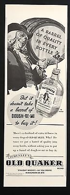 1937 Vintage Print Ad 1930s OLD QUAKER Whiskey Alcohol