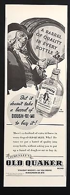 1937 Vintage Print Ad 1930s OLD QUAKER Whiskey Alcohol Illustration