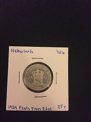 1929 Pearls From Edge Netherlands 1/2G Silver Coin