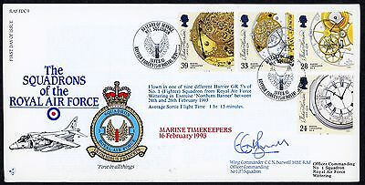Fdc 1993 Raffdc9 Squadron 1  Signed Flown Ltd 195  Timekeepers Raf Cover