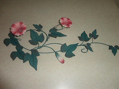 Home Interiors Metal '' Green Ivy & Pink Flowers  '' Wall Accent  9'' x 21''