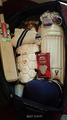 wheelie cricket bag with bat,pads,and much more