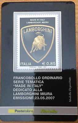 2007 Lamborghini Miura Stamp From Italy On Plastic Presentation Card