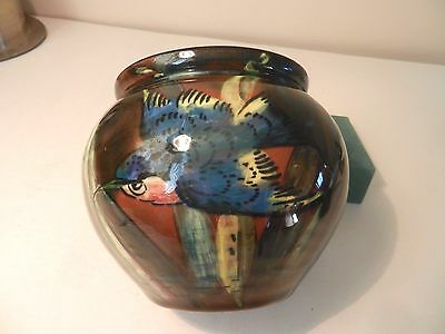 WESUMA Pottery Weston Super Mare POT with Diving Kingfisher