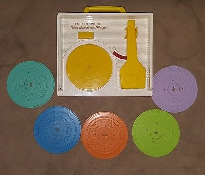 "Fisher Price Music Box Record Player Toy 2010 Reissue with 5 ""records"""