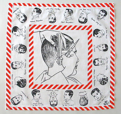 Vintage Barber Art Hanky 1980s Gents Haircuts. No? Yes! Made in England