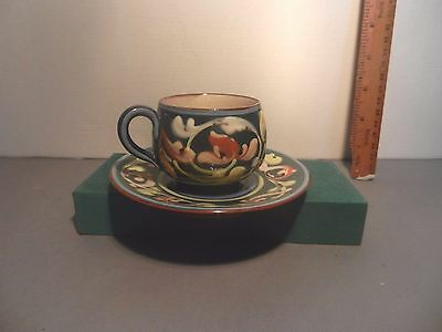 Aller Vale Cup and Saucer blue with swirls