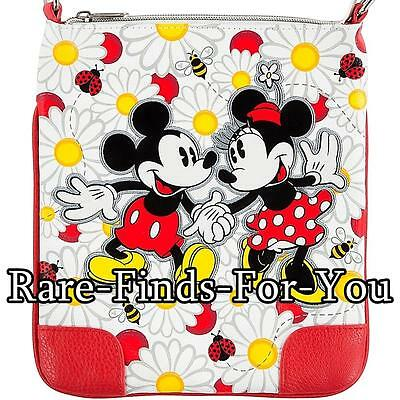 Disney Theme Parks Mickey and Minnie Mouse Daisies Crossbody Shoulder Bag (NEW)