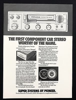 1978 Vintage Print Ad 1970s PIONEER Car Stereo B&W Image Music Player