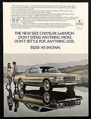1978 Vintage Print Ad 1970s CHRYSLER LEBARON Image Reflection Mountains