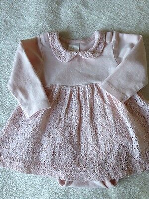 H&M Baby Girl Lace Dress With Attached Bodysuit Age 1-2 Months