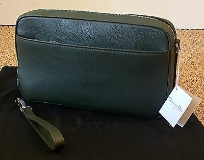 DIOR - Pochette Homme cuir grainé Kaki NEUF - New Leather Clutch Bag Dark Green