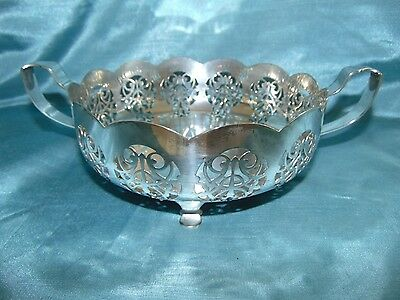 Beautiful Art Nouveau Silver Plated Bowl - Amazing Piercing and Whiplash Handles