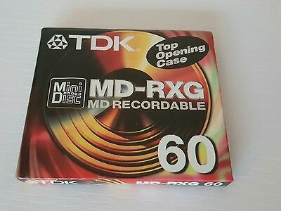 One Sealed New TDK MD-RXG Mini Disc 60 MD Recordable Top Opening Case