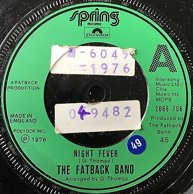 """THE FATBACK BAND - NIGHT FEVER  b/w  NO MORE ROOM FOR DANCING  (1976)  7"""" vinyl"""