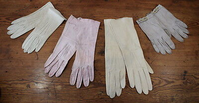 Four Pairs Of Ladies Vintage Leather Evening Gloves.