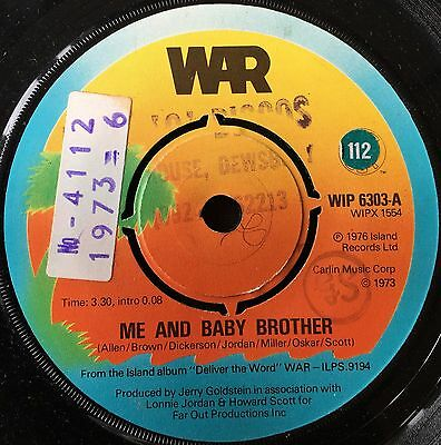 "WAR - ME AND BABY BROTHER  b/w  IN YOUR EYES  (1976)  7"" vinyl single"