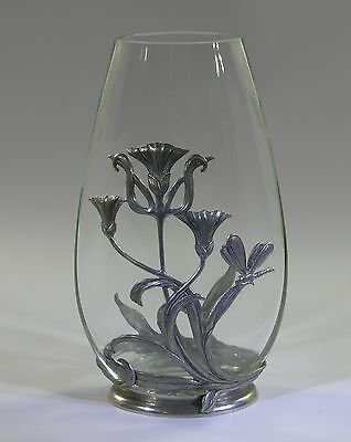 art nouveau style glass vase with white metal overlay