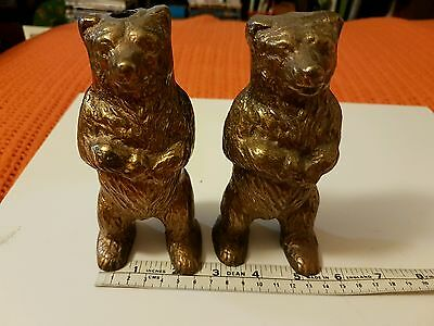 Vintage Pair Of Metal Brown Bears Unknown Maker ?