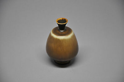 Great brown glaze stoneware vase by Berndt Friberg Gustavsberg studio