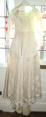 Vintage Retro Silk Lined Wedding Dress 1950's 60's 40's full length lined ivory