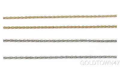 """14K Solid White Gold Lite Rope Chain Necklace 16"""",18"""" or 20"""""""