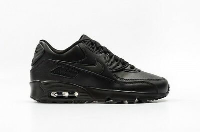 Nike Air Max 90 Ltr Gs 833412-001 Leather Triple Black Youth Boys Girls All Size