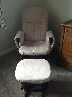 cream rocking/feeding chair with footstool
