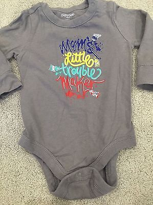 Baby Boys 6-12 Months Baby Gap Grey Long Sleeve Slogan T shirt Top Vest