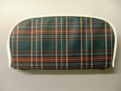 Green Tartan/ White Boarder Scooter Back Rest Cover (Purse Style)