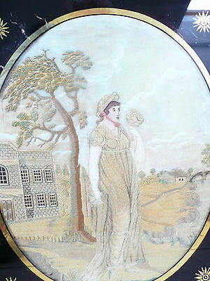 Antique Georgian Framed Silkwork Picture Lady of the manor.............ref.10098