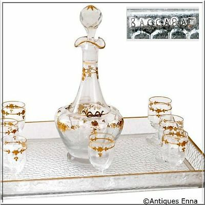 1900 Baccarat Gold Crystal Liquor or Aperitif Service, Roses and Ribbons