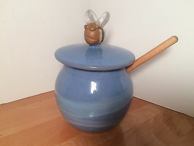 Handmade BLUE Glazed POTTERY HONEY POT With Lid And Dipper
