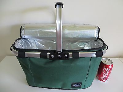 Insulated Picnic Basket Cooler Groceries, Camping, Boating, Beach, Cottage FOLDS