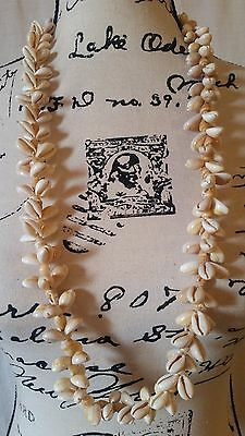 "Vintage Hawaiian Cowrie and Snail Shell Lei Luau 34"" Necklace"
