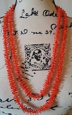 "Vintage Hawaiian Dyed Orange Coral Branch  60"" Inch Necklace"