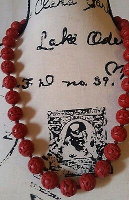 """Chinese Vintage Deep Red Hand Carved Cinnabar Flower Filigree 25"""" Inch Necklace"""