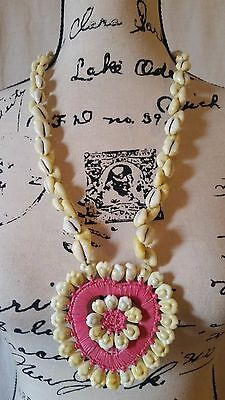 "Vintage Hawaiian Cowrie Shell 26"" Inch Necklace w/ Pink Heart Shell Pendant"