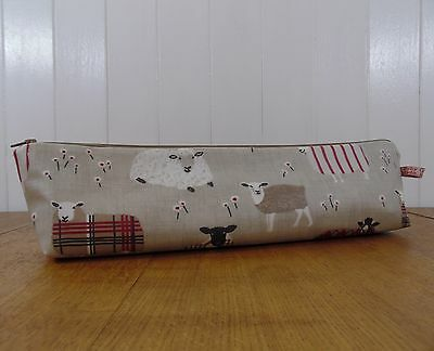 knitting needle bag- baa baa sheep red & brown oilcloth zipped needle pouch