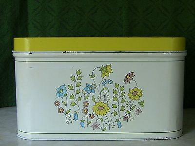 Vintage Cheinco Bread Box White with Yellow Lid and Flowers Design
