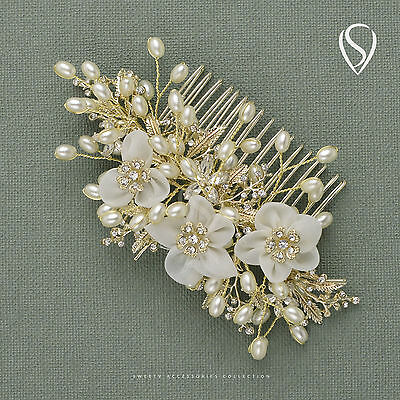 SWEETV Pearl Bridal Hair Comb Clip Light Gold Handmade Wedding Hair Accessory