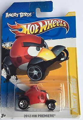 Hot Wheels 2012 Angry Birds Red Bird Car On Long Card. HW Premiere Mint Rare
