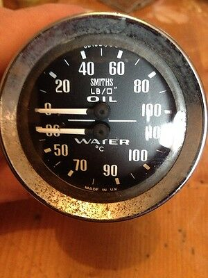 Smiths Dual Twin Oil Pressure Temp Gauge Gd1301/00 Mg Mgb Sprite Lotus Ford