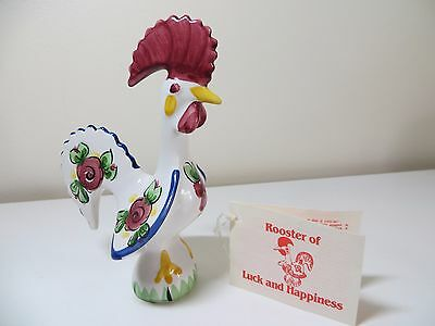 "Rooster Figurine Hand Painted Portugal ""Rooster of Good Luck Happiness""  5"""