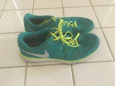Nike Flex 2014 Run  Low Top Running Shoes.Teal/Green/White . Size 10.