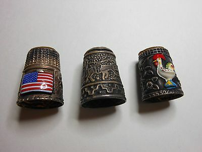 3 Vintage Thimbles- Chicken-USA Flag and Donkey. Metal and enamel