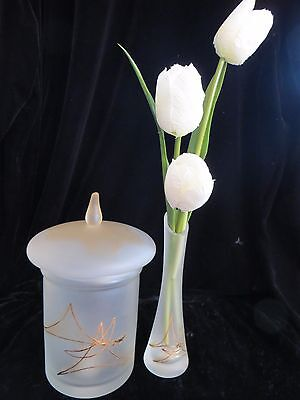 2 Pc Vase & Canister Frosted Gold Art Glass Powder Room Storage Vanity SIGNED