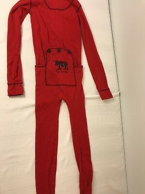 Childrens Size 6 Lazy One Red Bear Bottom Pajama PJ Boy Girl Sleepwear Jumpsuit