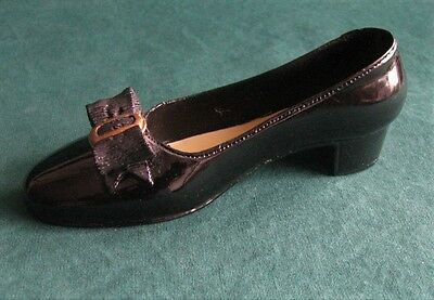 Sarna Collectable Miniature Black Patent Leather Style Ladies Shoe NR