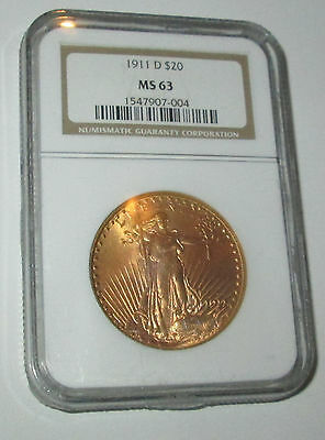 1911 D $20 SAINT GAUDENS GOLD DOUBLE EAGLE PCGS MS 63 FREE SHIPPING Great Color
